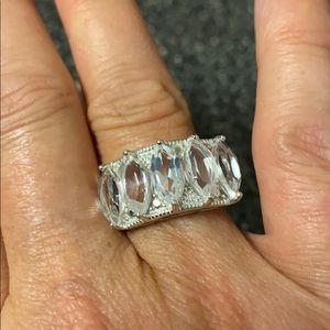 Marquise Crystal Quartz with 2 Diamond Accents